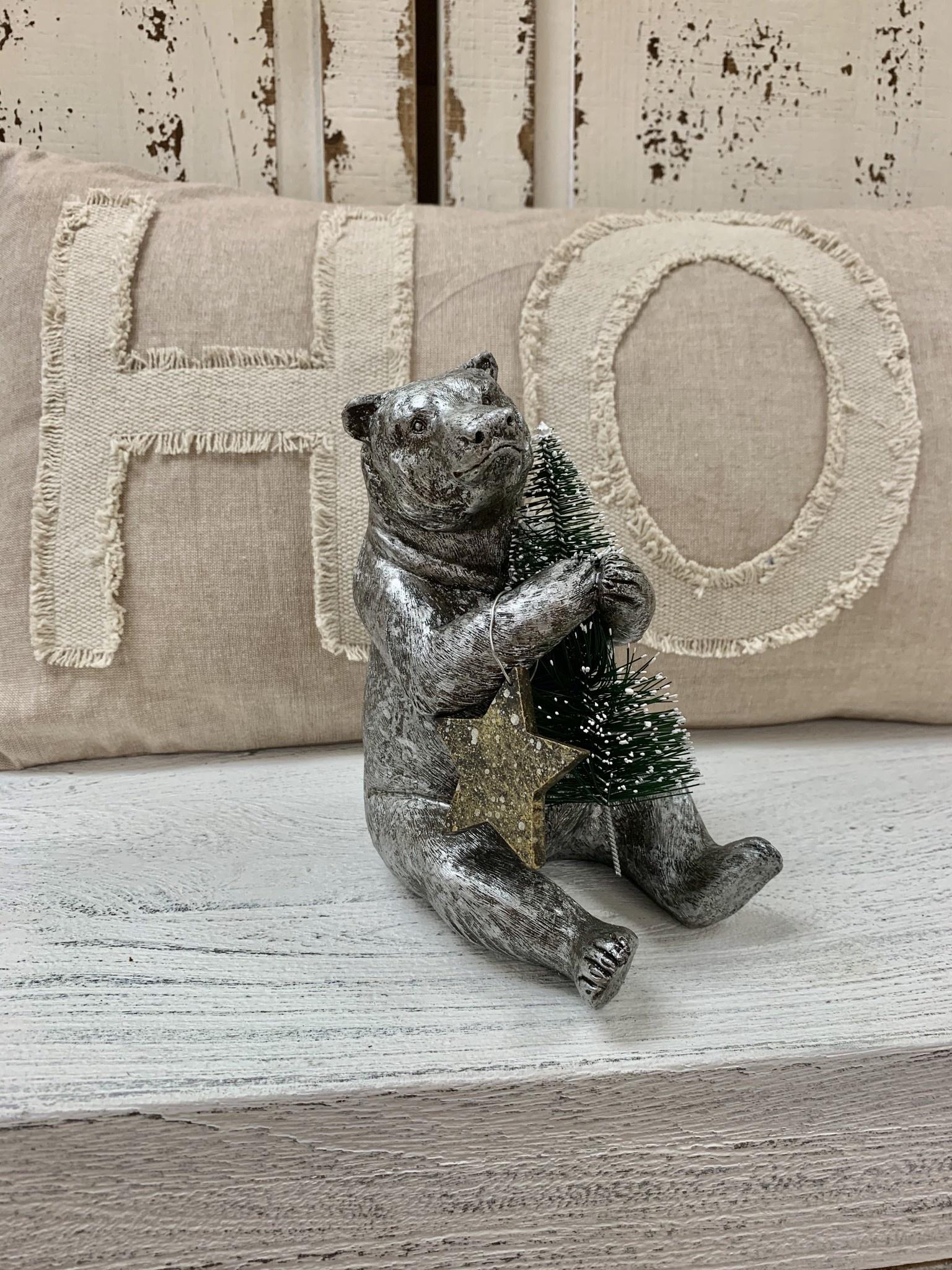 Resin Bear W/ Bottle Brush Tree