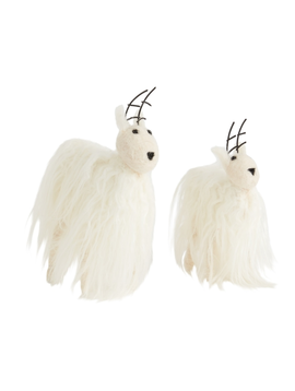 Accent Decor Neva Reindeer Ornament White Faux Fur