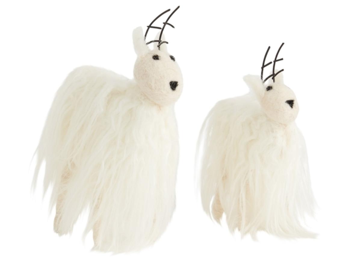 Accent Decor Neva Reindeer Ornament White Faux Fur
