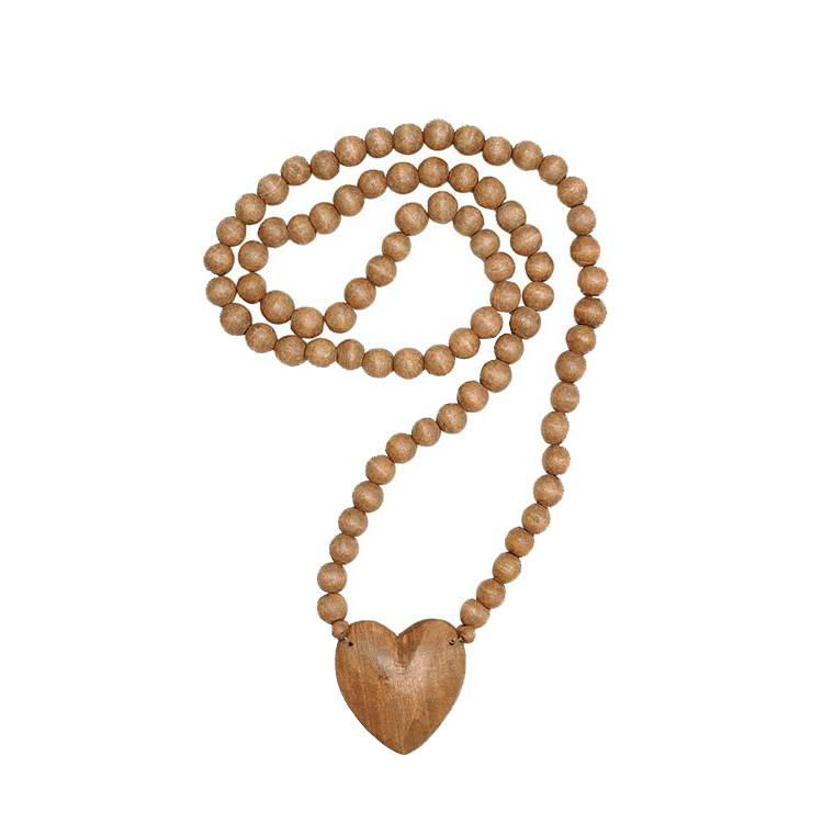 Wood Heart Beaded Decor