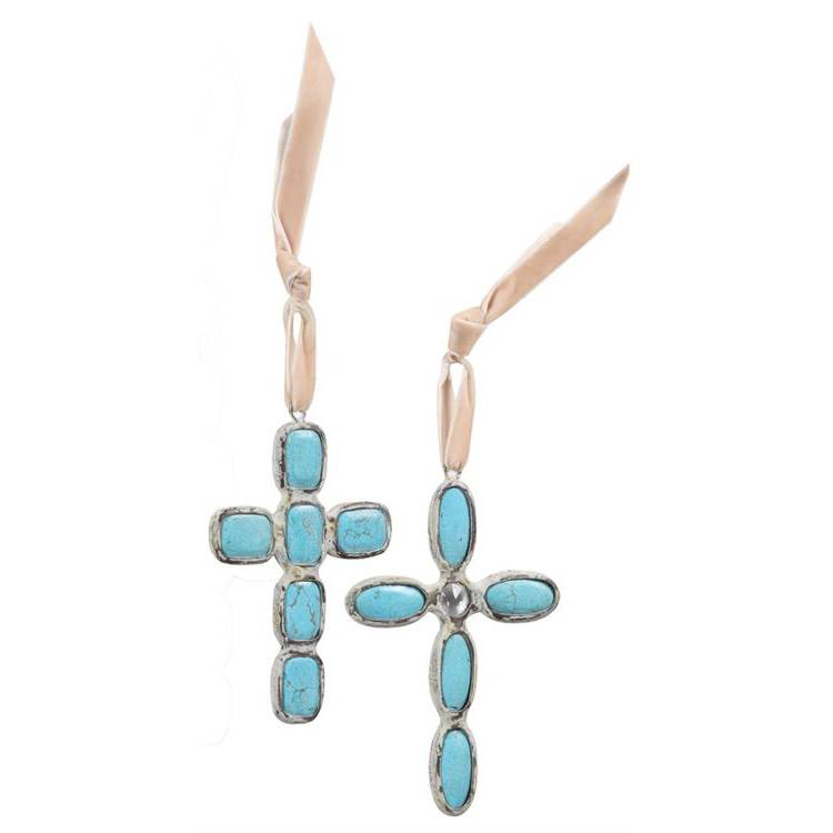 Turquoise Cross Ornament