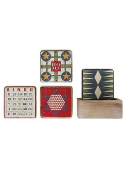 Coasters w/ Vintage Board Game in Wood Box Set