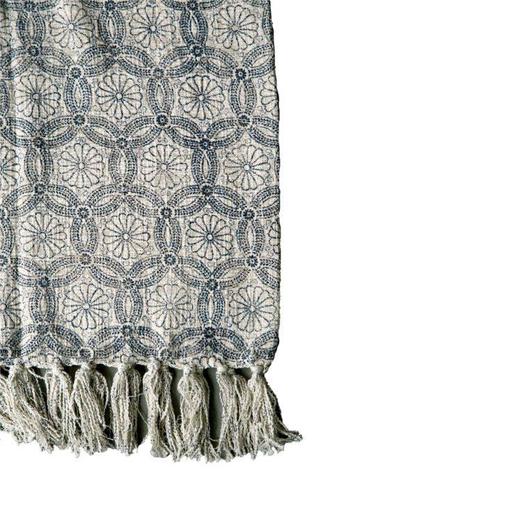 Blue Floral Pattern Cotton Throw with Fringe
