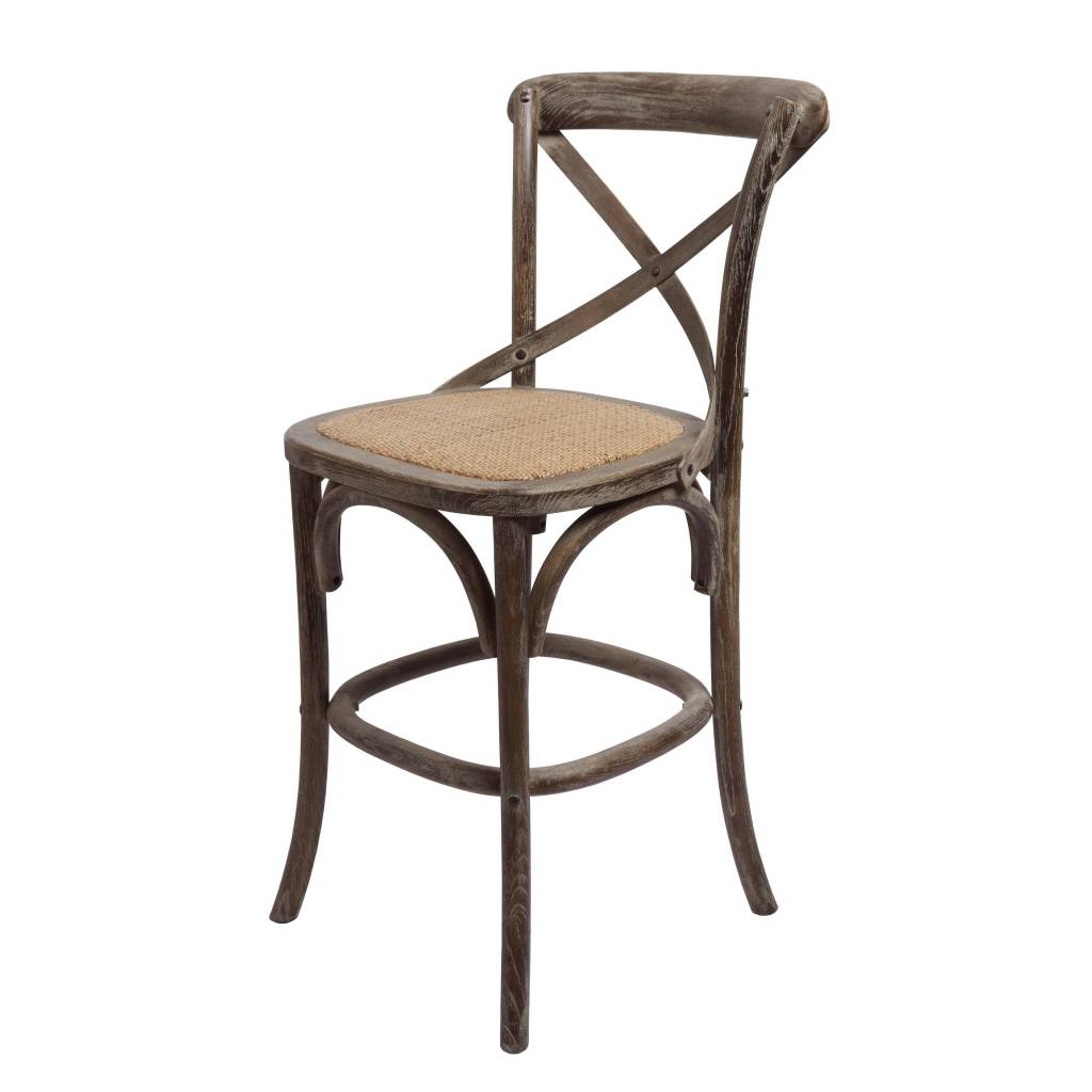 "Bennett 24"" X-Back stool - Brown Wash"