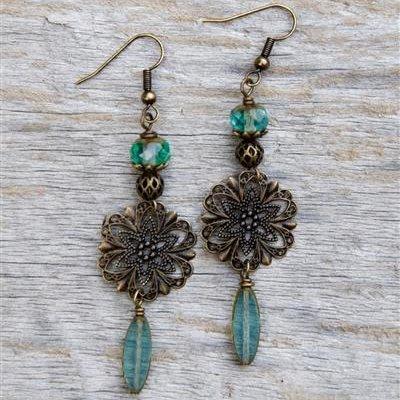 Sundial Filigree Earring - Journey - Antique Gold