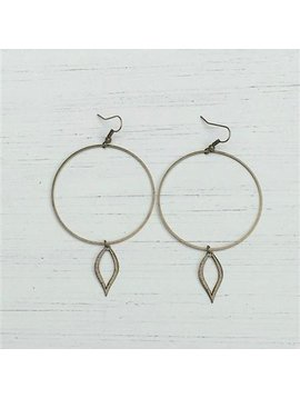 Large Circle w/ Open leaf Earrings