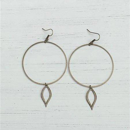 Large Circle w/ Open leaf Earrings