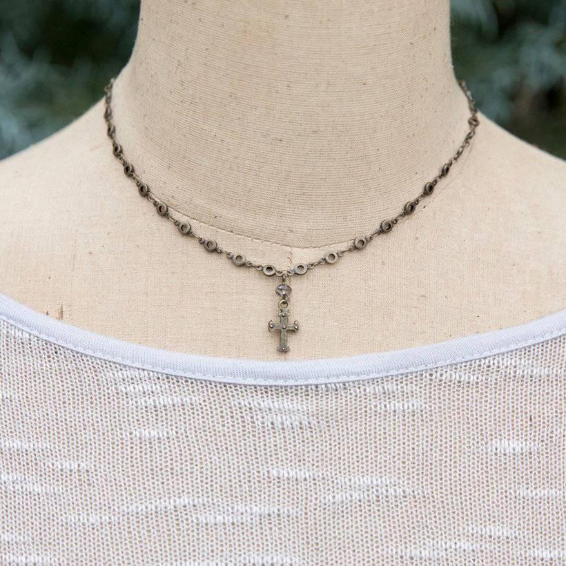 Joy Cross Necklace - Gunmetal