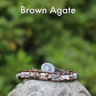 Gemstone Threaded Wrap - Brown Agate