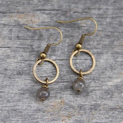 Brass Circle Earrings with Labradorite Stone Drop