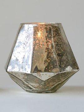 Round Mercury Glass Hexagon Votive Holder
