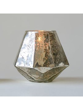 Round Mercury Glass Hexagon Votive Holder