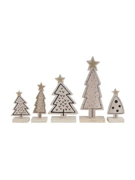 Wood Christmas Trees (Set of 5)