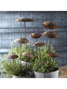 Galvanized Mushroom Garden Stakes