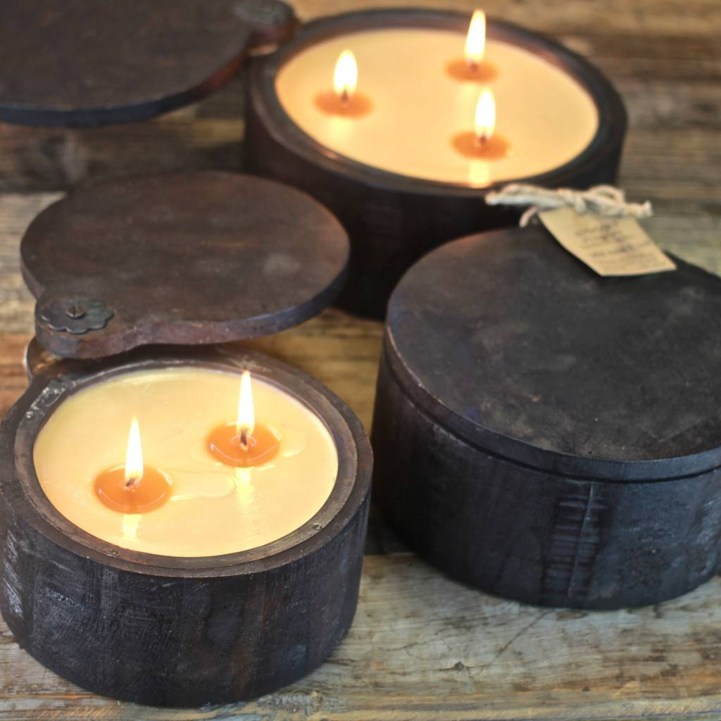 Wooden Spice Pot Candle