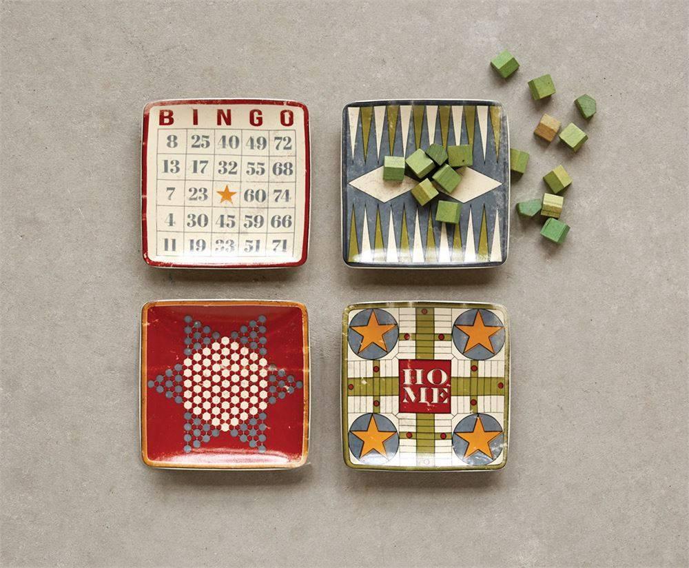 Stoneware Dish w/ Vintage Board Game