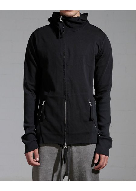 THOM KROM COTTON ZIP UP HOODIE WITH RIBBING