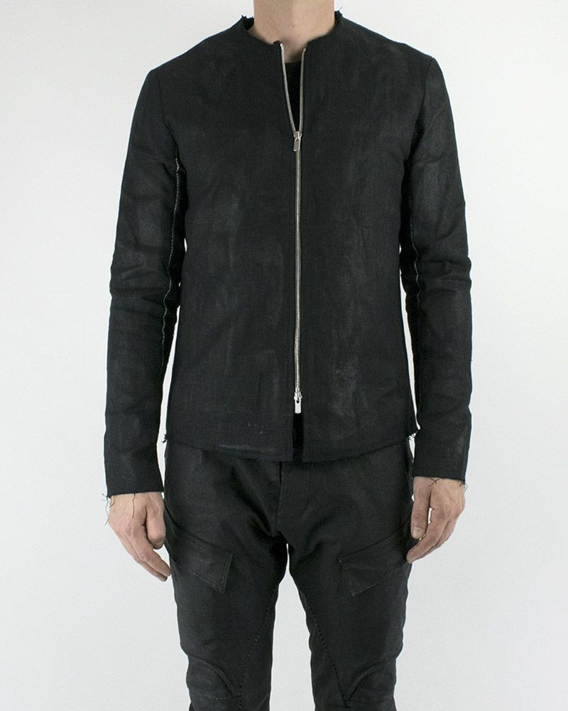 RUBBER COATED LINEN ZIP JACKET