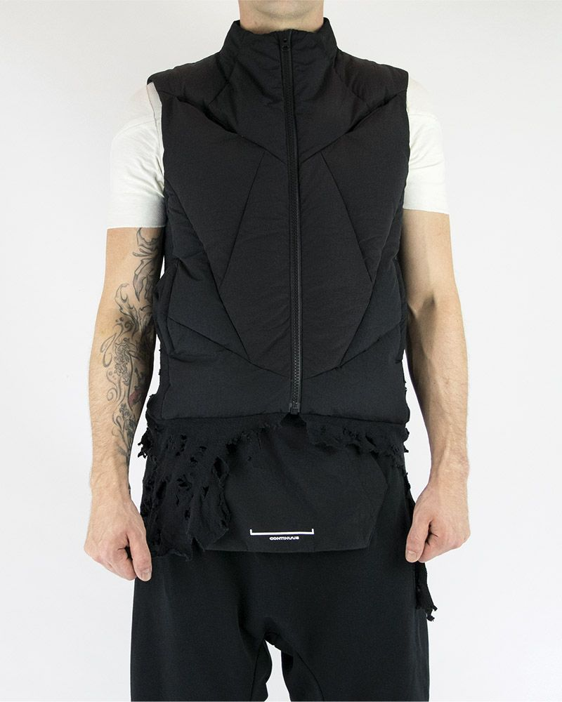 QUILTED VEST WITH DESTROYED HEM