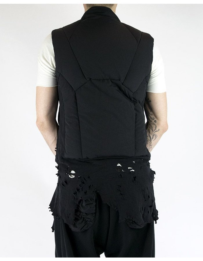 HAMCUS QUILTED VEST WITH DESTROYED HEM