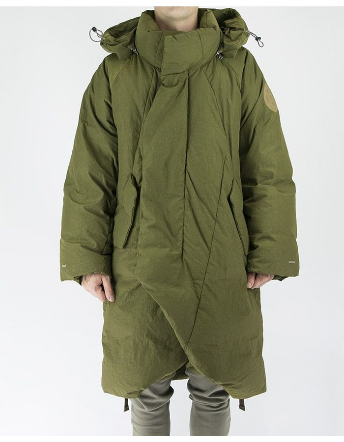 HAMCUS OVERSIZED QUILTED COAT WITH DETACHABLE HOOD IN OLIVE