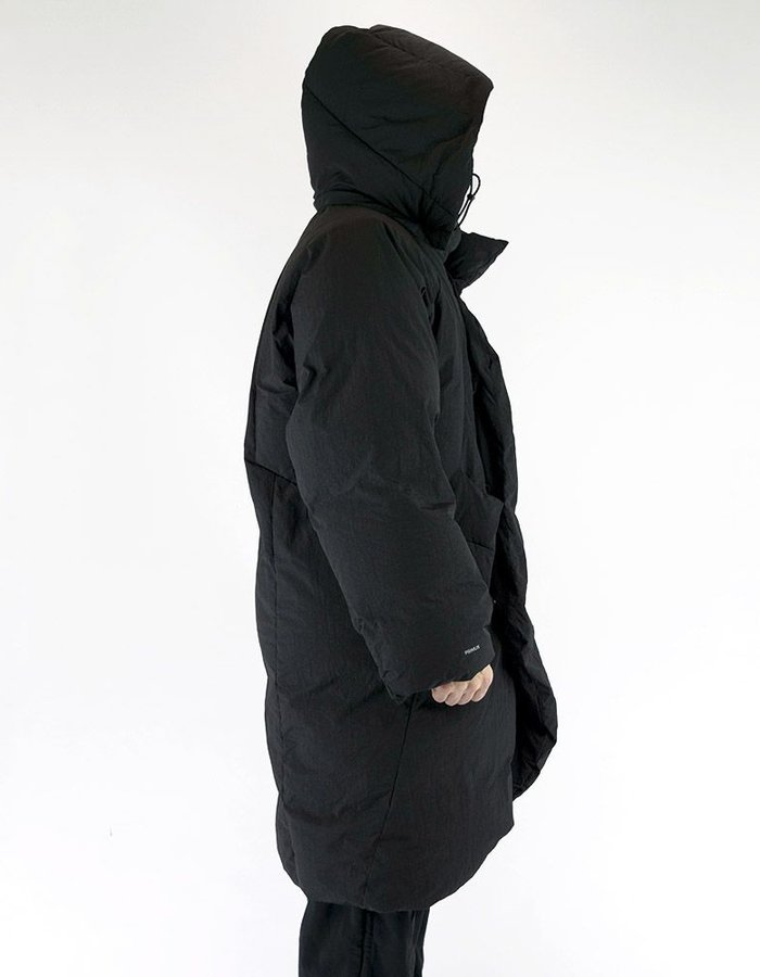HAMCUS OVERSIZED QUILTED COAT WITH DETACHABLE HOOD IN BLACK
