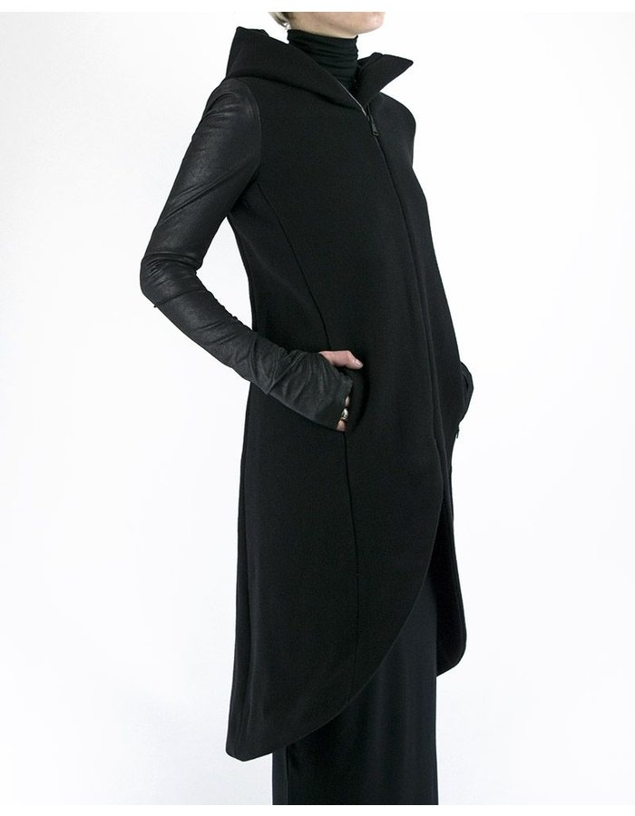 NOSTRA SANTISSIMA PARKA WITH STRETCH LEATHER SLEEVE
