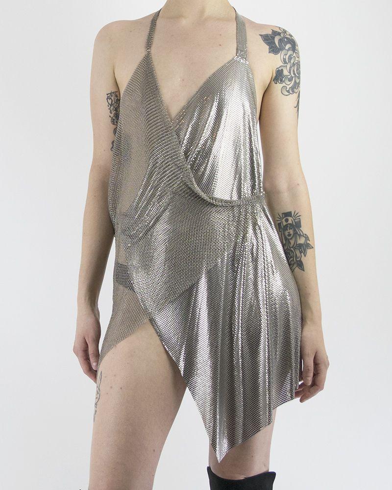 2 TONE METAL MESH DRESS