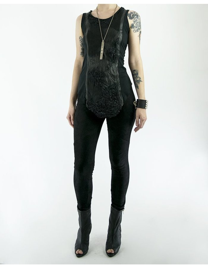 SANDRINE PHILIPPE TANK TOP LEATHER AND PIQUE
