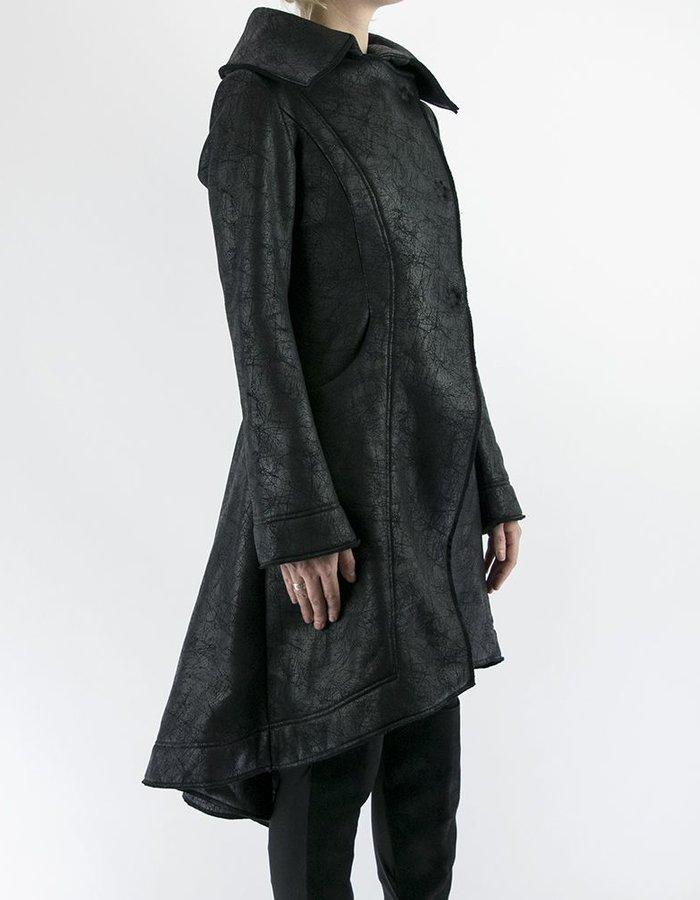 DAVID'S ROAD LEATHER EFFECT SWEATSHIRT COAT WITH BACK DETAILS