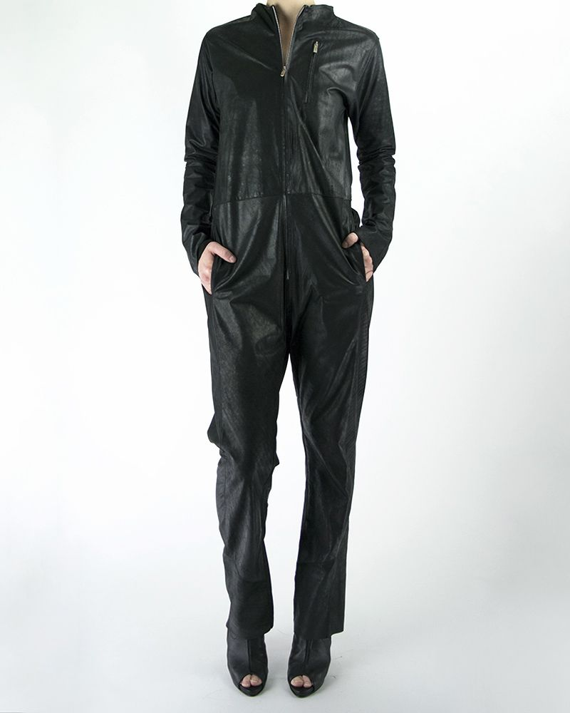 OILED LEATHER COVERALL