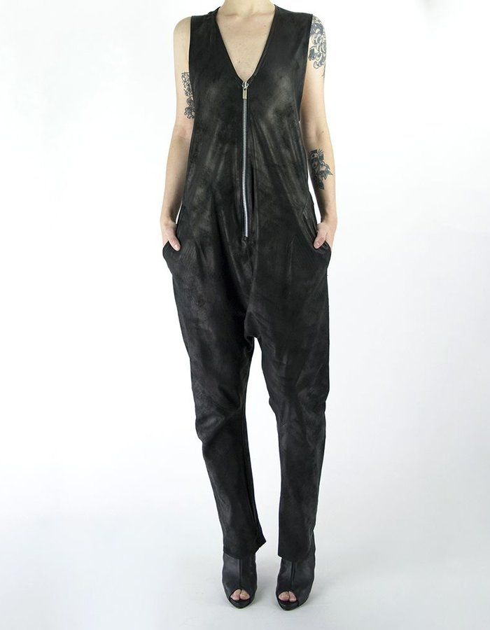 MONARC 1 ZIP FRONT SLEEVELESS JUMPSUIT -LEATHER
