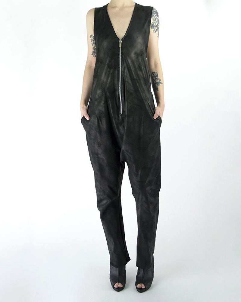 ZIP FRONT SLEEVELESS JUMPSUIT -LEATHER