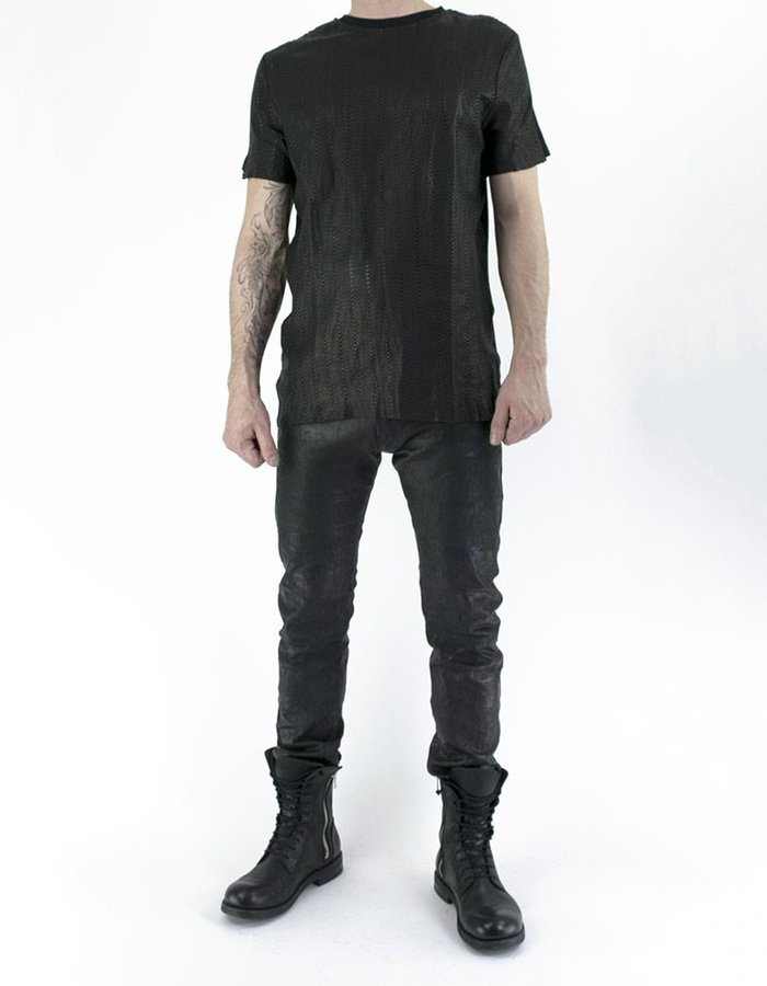 M-OJO RISIN' HONEYCOMB LEATHER T-SHIRT - ISTRICE