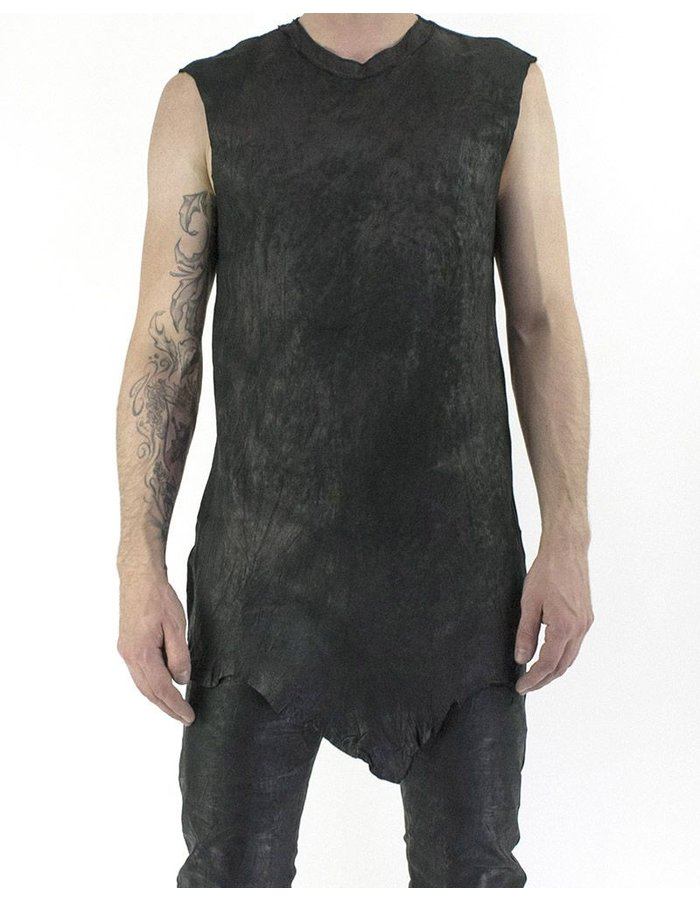 M-OJO RISIN' LONG TANK IN RAW LEATHER - BURRO