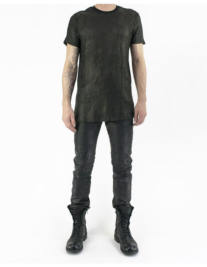 M-OJO RISIN' SCALED LEATHER T-SHIRT - IGUANA
