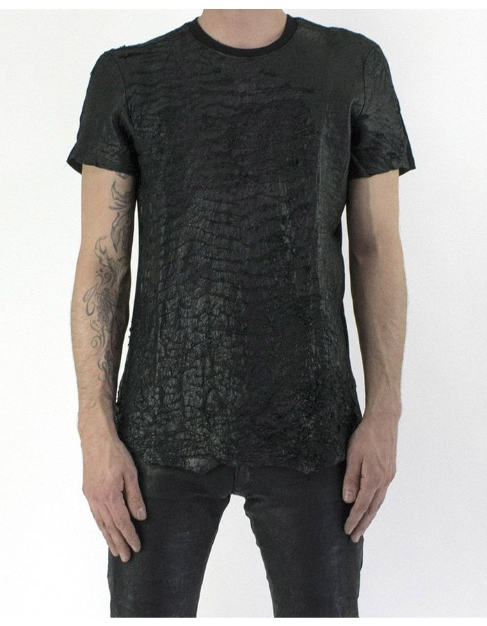 M-OJO RISIN' CRACKED LEATHER T-SHIRT - KANSAS