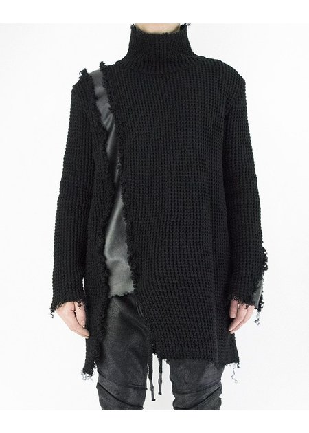 DAVID'S ROAD KNITTED TURTLENECK WITH LEATHER