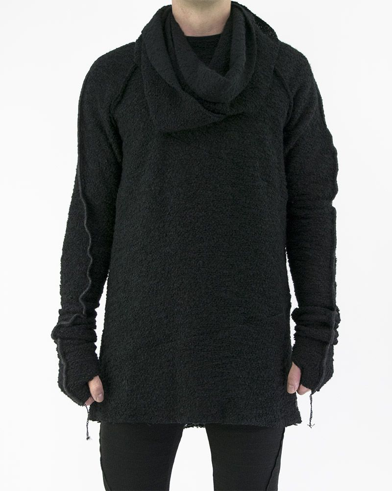DISTRESSED CIRCLE SCARF PULLOVER