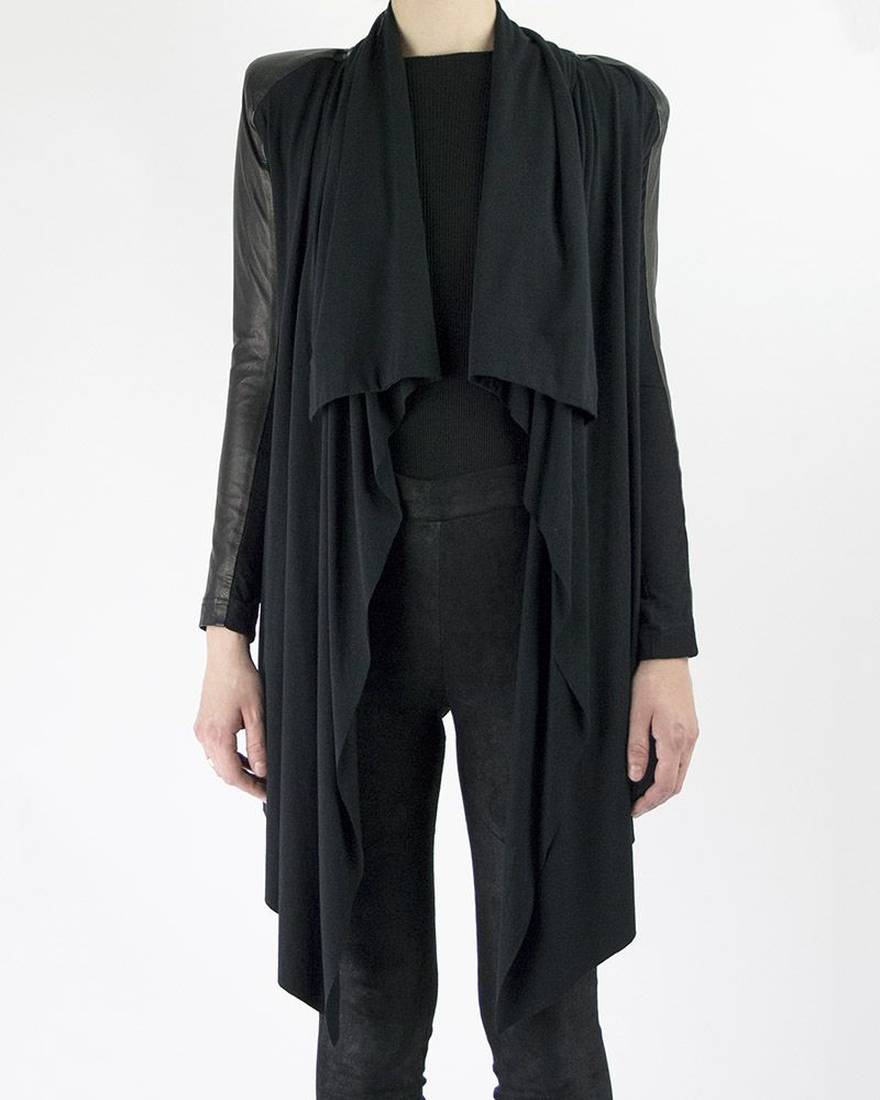 LEATHER AND JERSEY LIZA CARDIGAN