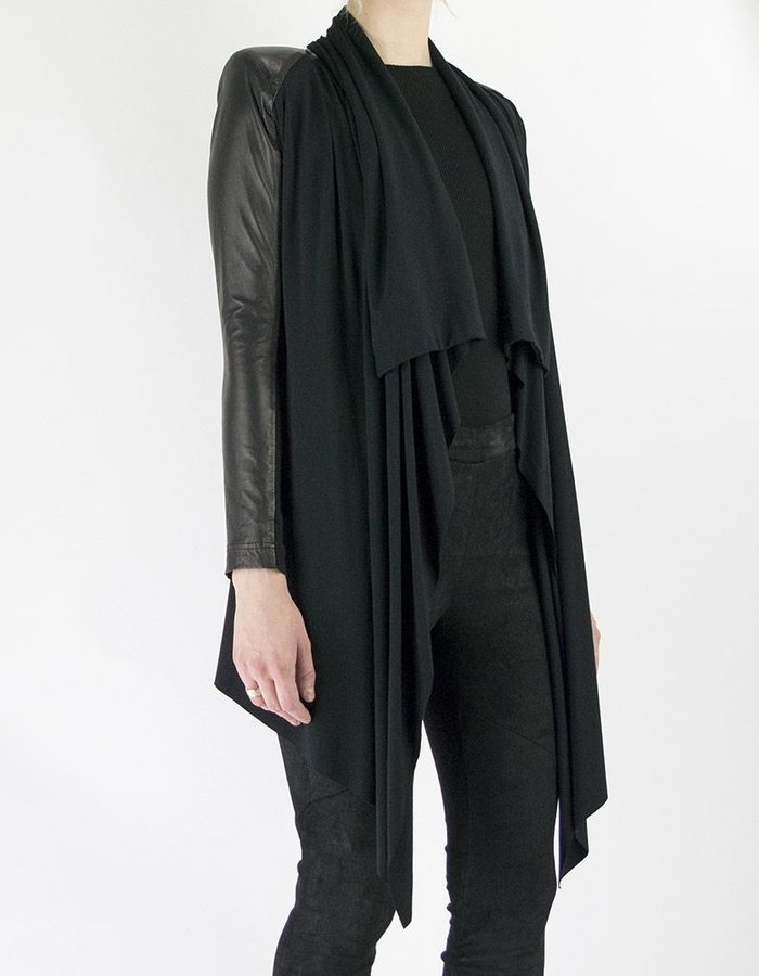 SKINGRAFT LEATHER AND JERSEY LIZA CARDIGAN