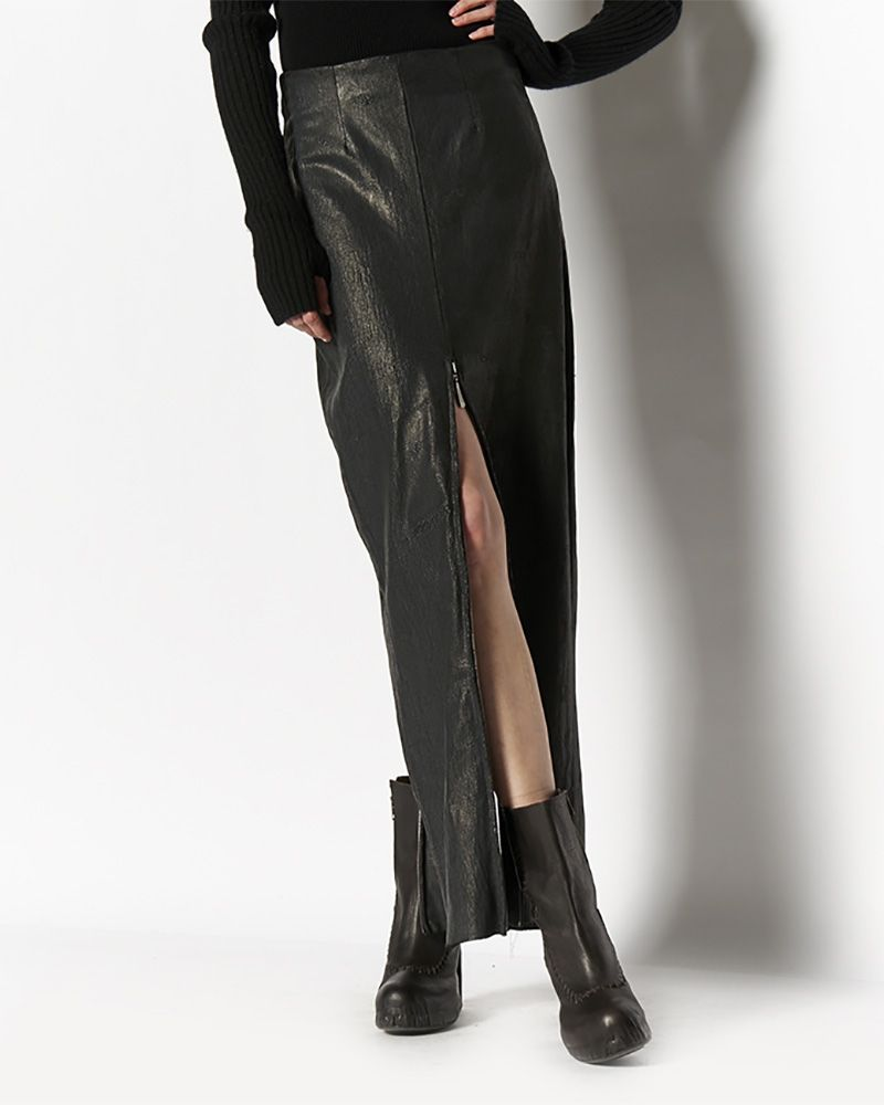 LONG LAMINATED STRETCH SKIRT WITH ZIP