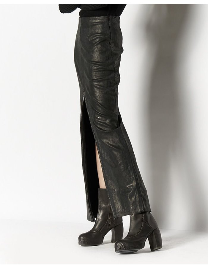 MASNADA LONG LAMINATED STRETCH SKIRT WITH ZIP