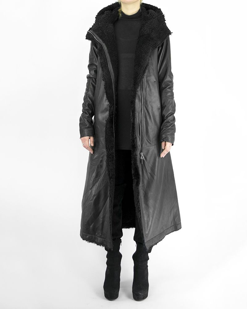 LONG LEATHER JACKET WITH SHEARLING LINING