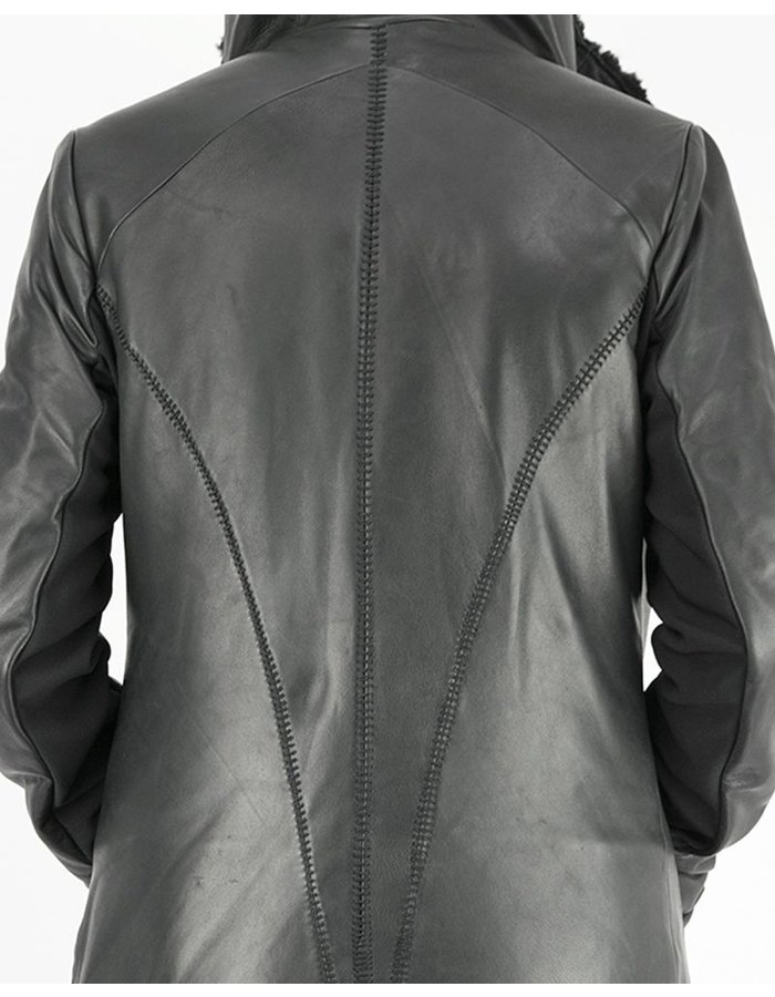 10SEI0OTTO LONG LEATHER JACKET WITH SHEARLING LINING