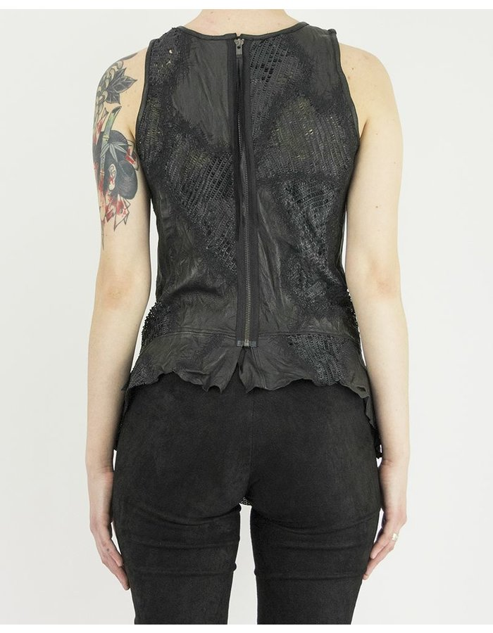 SANDRINE PHILIPPE TANK TOP WITH LEATHER DETAILS