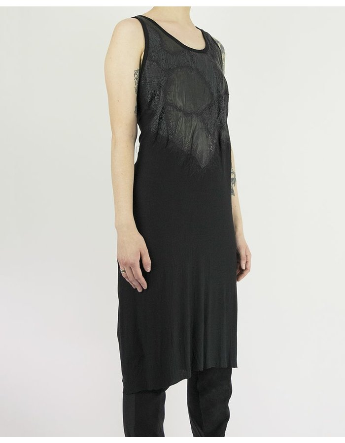 SANDRINE PHILIPPE DRESS WITH HAND CUT LEATHER DETAILS
