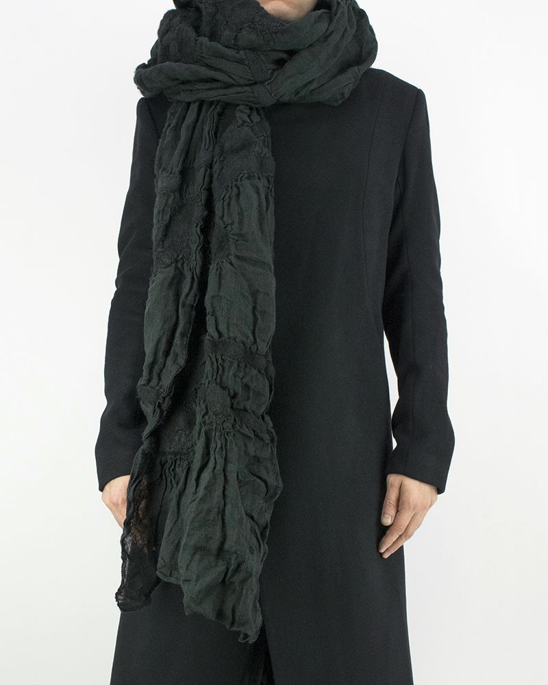 LINEN & WOOL SCARF - GREEN