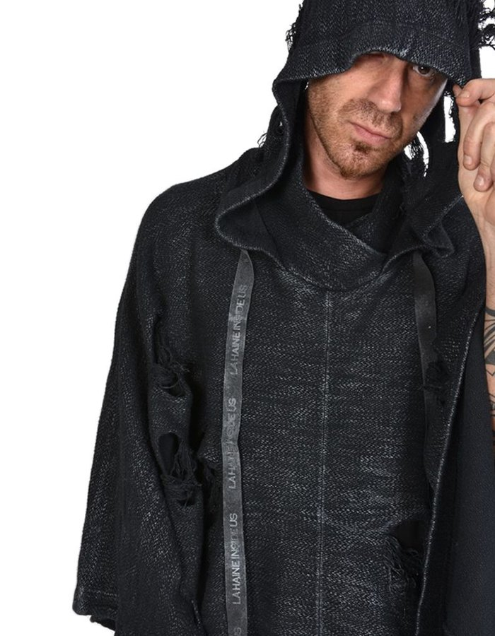 LA HAINE INSIDE US DISTREESED HOODED PONCHO