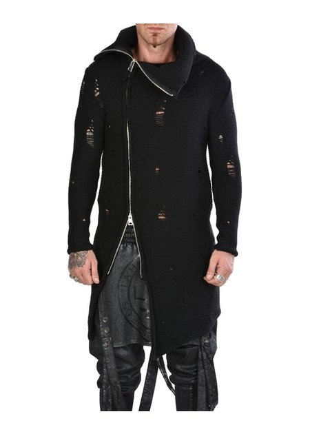LA HAINE INSIDE US HIGH NECK KNIT ZIP CARDIGAN